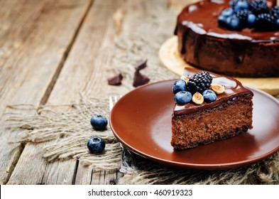 Chocolate hazelnut cake cheesecake. toning. selective focus