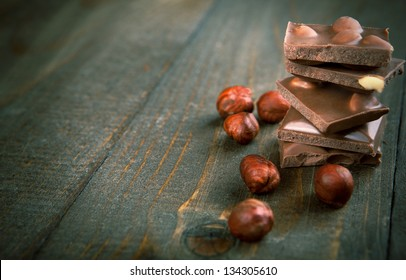 chocolate with hazelnuts - copy space
