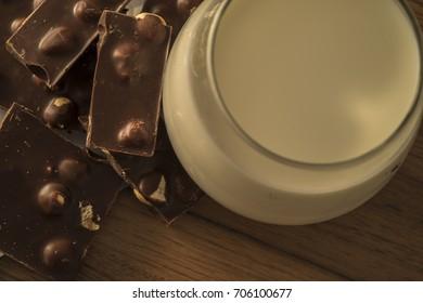 chocolate with hazelnuts and milk