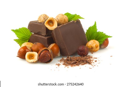 Chocolate with hazelnuts on a white background.