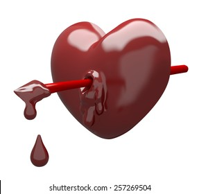 Chocolate heart with arrow. Clipping path included