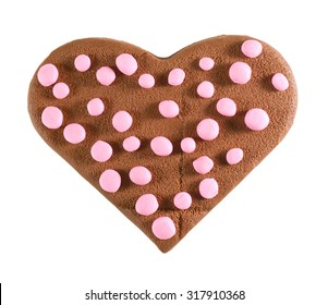 Chocolate heart, isolated on white, cookie.