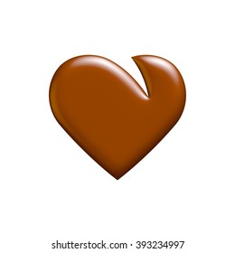 chocolate heart isolated on white background