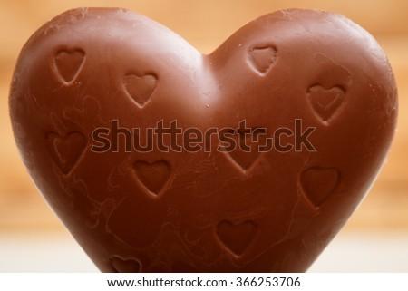 Chocolate Heart On Wooden Background Valentine Chocolates Stock