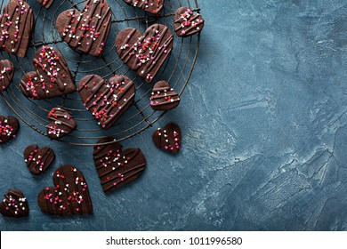 Chocolate hearts cookies with sprinkles for Valentines Day
