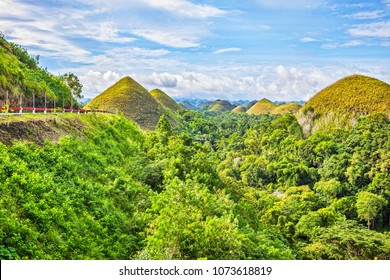 Chocolate Hills in the Bohol province of the Philippines.  Famous tourist attraction of Bohol. Road to Chokolate Hills