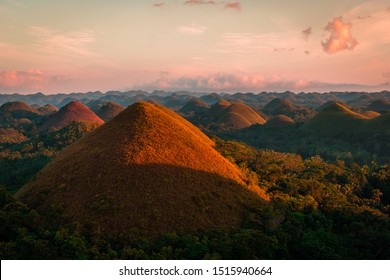 Chocolate hills during sunset in Bohol Island in the philippines.
