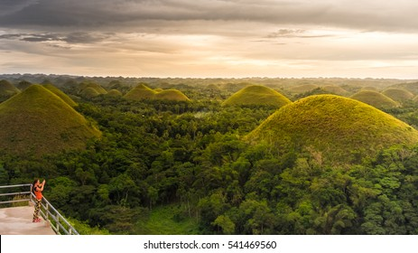 Chocolate hills, A geological formation in the Bohol province of the Philippines. They are covered in green grass that turns brown (like chocolate) during the dry season.