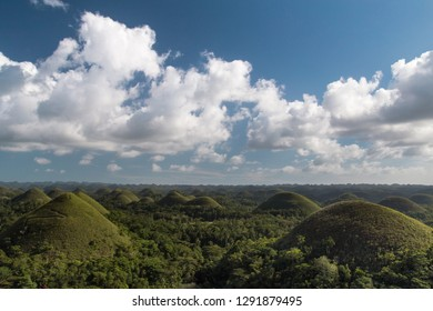 Chocolate hills on a sunny day with blue sky and clouds. Truffle shaped formations is the main attraction of Bohol island, Philippines
