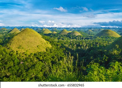 Chocolate Hills at sunset, Bohol, Philippines.
