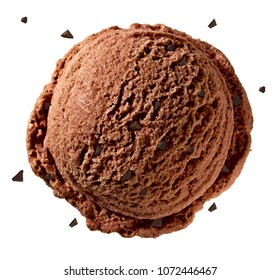 Chocolate ice cream scoop with broken chocolates or chips isolated on white background.