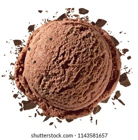 Chocolate ice cream scoop with grated or broken chocolate parts from top isolated on white back ground