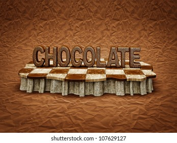 chocolate iscription in a checkered podium isolated