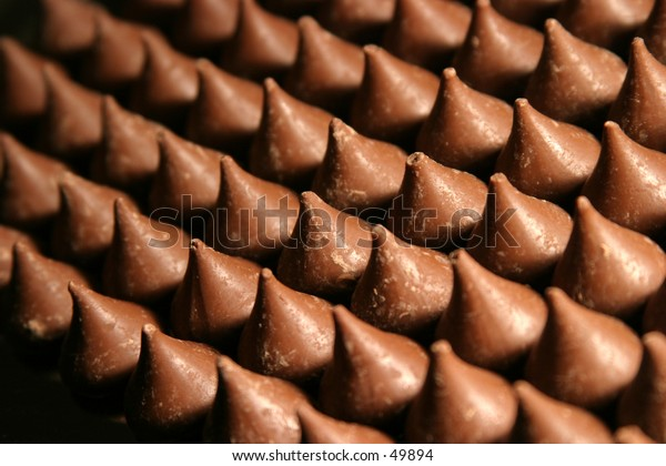 chocolate kisses all lined up