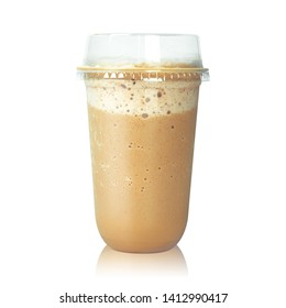 Chocolate latte coffee in plastic cup isolated on white background. Brown mocha milk. ( Clipping path )