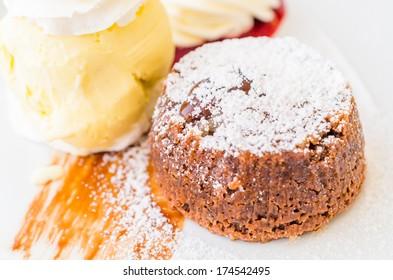 Chocolate lava cake served with icecream