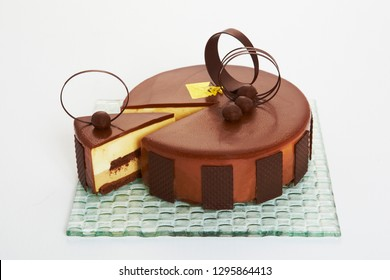 Chocolate layer cake – A cake made from stacked layers of cake held together by filling