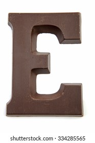 Chocolate letter E for Sinterklaas, event in the Dutch in december over white background