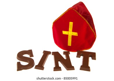 Chocolate letters and mitre for Dutch Sinterklaas holidays
