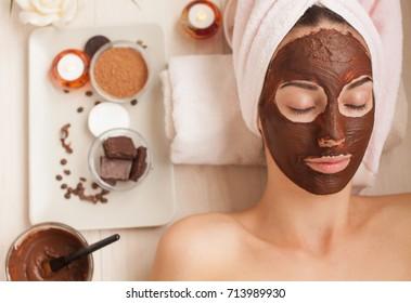 Chocolate Luxury Spa. Facial Mask. Homemade chocolate mask. Spa treatments.
