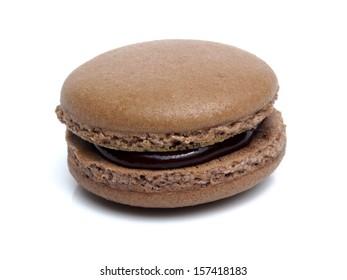 Chocolate macarons isolated