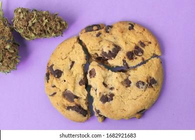 Chocolate and marijuana cookies. CBD Cannabidol Foods