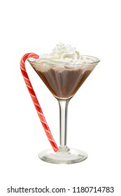 chocolate martini with candy cane
