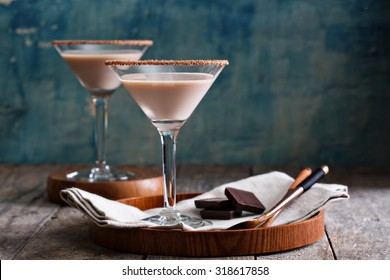 Chocolate martini cocktail made from chocolate, cream and vodka