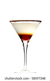 chocolate martini layered on isolated white background