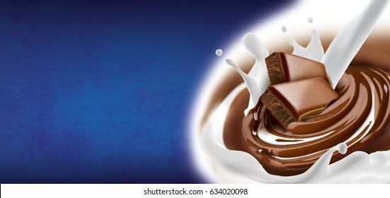 Chocolate melted in cream with milk on background with splash. Ready for package design. Horizontal motive. Tasty.