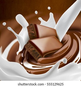 Chocolate melted in cream on background. Ready for package design.Milk splash.Tasty.