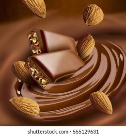 Chocolate melted in cream on background. Ready for package design.Almond taste.Tasty.