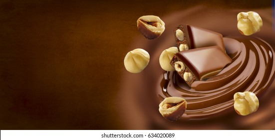 Chocolate melted in cream on background. Ready for package design. Horizontal motive. Hazelnut taste. Tasty.