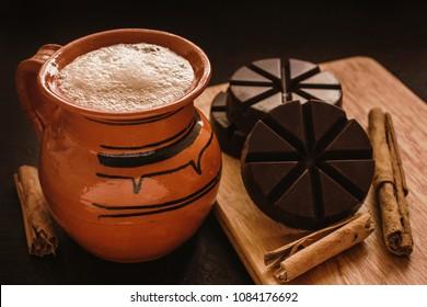chocolate mexicano, mug of mexican hot chocolate from Oaxaca Mexico