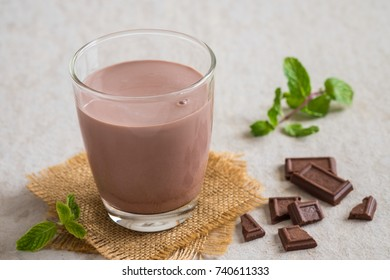 Chocolate milk in glass