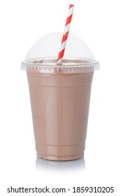 Chocolate milk shake milkshake in a cup straw isolated on a white background