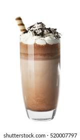 Chocolate milk shake on white background