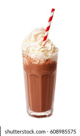 Chocolate milk shake with whipped cream isolated on white background