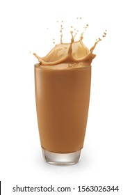chocolate milk or milk tea splashing out of glass isolated on white with clipping path