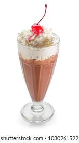 chocolate milkshake in glass