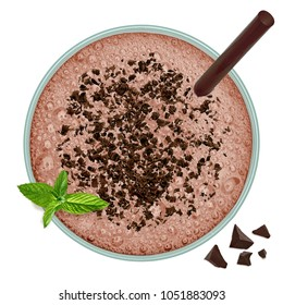 Chocolate milkshake with mint on white background