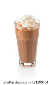 chocolate milkshake prepared in a blender and decorated with cream