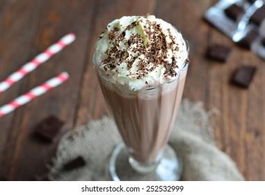 Chocolate Milkshake, selective focus close-up horizontal