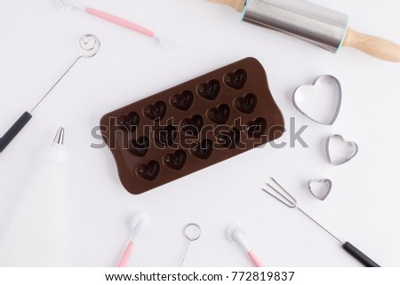 Chocolate Mold Bakery Tools On White Stock Photo Edit Now