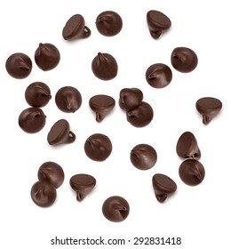 Chocolate morsels spread from top view isolated on white background from top
