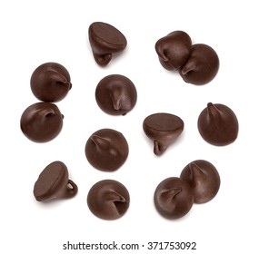 Chocolate morsels from top view isolated on white background