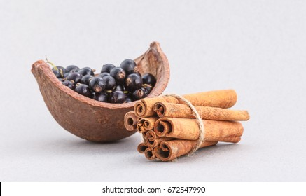 Chocolate mousse dessert with blueberries and cinnamon sticks, sweets restaurant menu concept