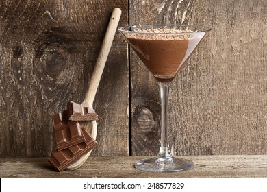 Chocolate mousse with chocolate shavings served in a Martini glass