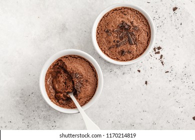 Chocolate mousse (souffle) from aquafaba. Vegan chickpea dessert. Clean eating concept.