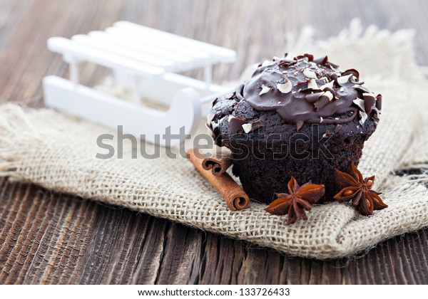 chocolate muffin for christmas with decoration